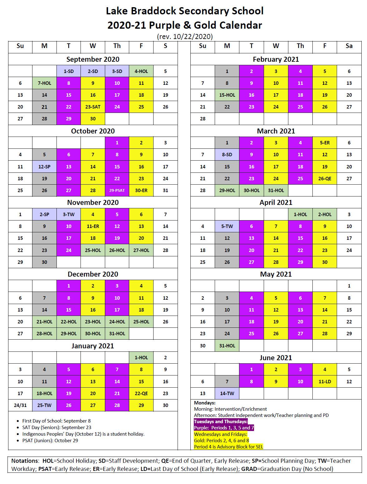 Purple and Gold Calendar | Lake Braddock Secondary School