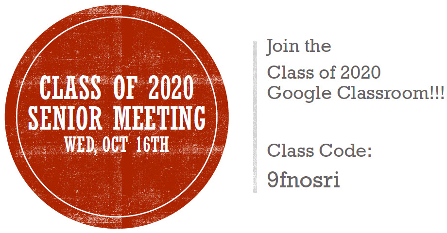 Senior Class Google Classroom code to join